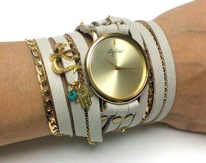 שעון שמות מתלפף   שעון עור מתלפף   שעון סיגל לוי   שעונים   שעון   שעון בגוון לבן   שעון עם שם   שעון מתוכשט   שעון קישוטים