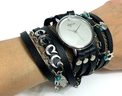 שעון שמות מתלפף   שעון עור מתלפף   שעון סיגל לוי   שעונים   שעון   שעון בגוון שחור   שעון עם שם   שעון מתוכשט   שעון קישוטים
