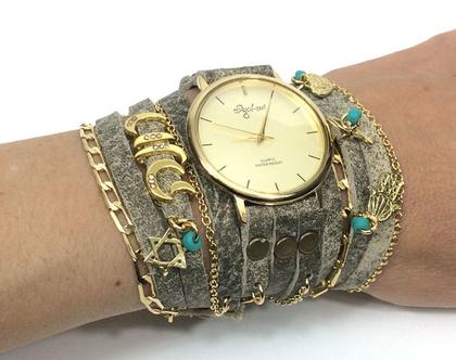 שעון שמות מתלפף   שעון עור מתלפף   שעון סיגל לוי   שעונים   שעון   שעון בגוון זהב   שעון עם שם   שעון מתוכשט   שעון קישוטים