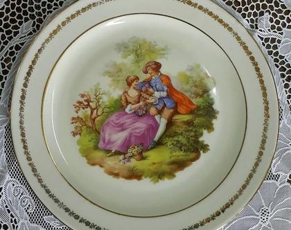 צלחת קישוט רומנטית - צלחת לקישוט - צלחת נעמן - צלחת פורצלן - צלחת וינטג' - רומנטיקה