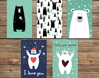 סט 5 גלויות מוכנות למסגור דובים | מארז גלויות | כרטיסי ברכה