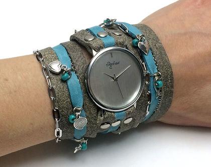 שעון מתוכשט   שעון עור מתלפף   שעון סיגל לוי   שעונים   שעון   שעון בגוון אבן ותורקיז  שעון מתוכשט   שעון קישוטים