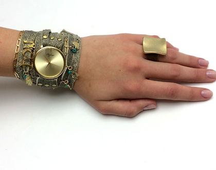 שעון שמות מתלפף   שעון עור מתלפף   שעון סיגל לוי   שעונים   שעון   שעון בגוון אבן   שעון שמות  שעון מתוכשט   שעון קישוטים
