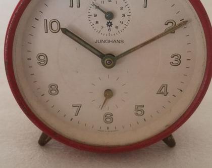 שעון מפעם, שעון מכני, שעון אדום, פריט עיצובי לבית, שעון ישן, שעון וינטג', שעון וינטאג', שעון לשולחן עבודה