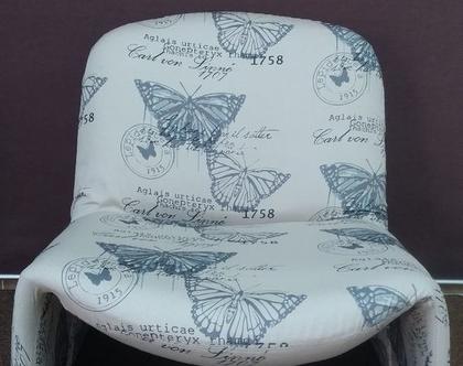 כורסא מיוחדת, כורסא מחודשת, כורסא מרופדת, פריט ייחודי לעיצוב הבית, לחדר העבודה, בד מדוגם
