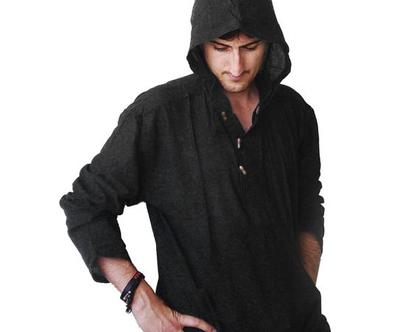 חולצת קפוצ'ון אתנית - שאנטי - שחור