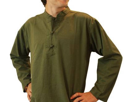 חולצת אתנית - ירוק זית