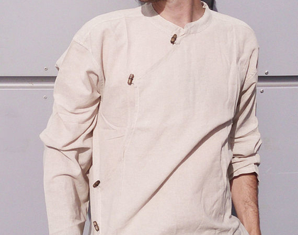 חולצת גברים - טיבטית - צבע חלב אפוי