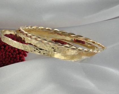 סט צמידי זהב 14k | צמיד רקוע עדין | צמיד מיוחד | צמיד מרוקאי | צמיד זהב | צמיד זהב מרוקאי | 14 קראט | צמיד עדין | צמיד זהב לחינה | מידה S