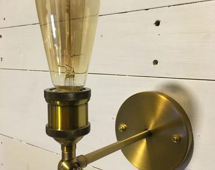 מנורת קיר במראה וינטאג תעשייתי ברונזה(13)
