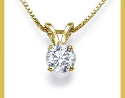 שרשרת יהלום | תליון יהלום | 14 קאראט זהב צהוב | 25 נקודות |