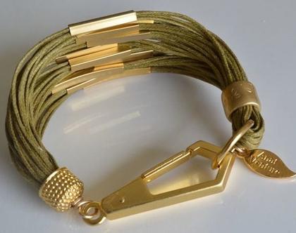 צמיד חוטי כותנה בשילוב צינורות בציפוי זהב