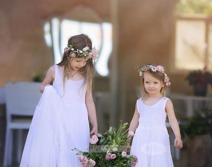 שמלת שושבינה עם תחרה בצבע לבן.שמלת שושבינה.בובל'ה שמלות. שמלה לבנה לילדה. שמלת תחרה. שמלת מקסי.