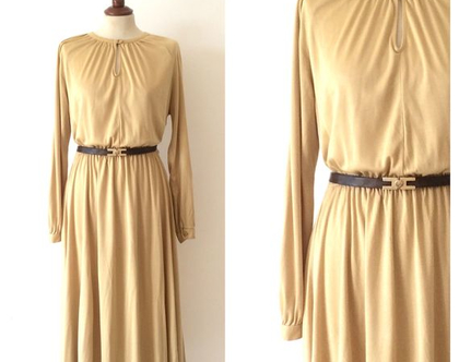 שמלת וינטג׳ זהב | שמלת מקסי | שמלה לאירוע | שמלה ארוכה |שמלת וינטאג' |שמלה מיוחדת שמלות
