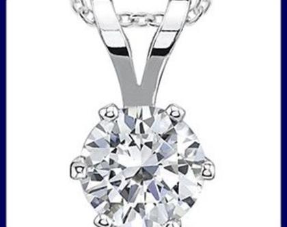 שרשרת יהלום | תליון יהלום | 14 קאראט זהב לבן | 25 נקודות | 6 שיניים
