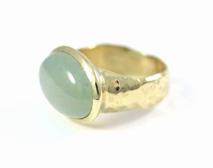 טבעת זהב 14 קרט - טבעת אקווה מרין - טבעת אבן חן - טבעת מעוצבת - מעצבת תכשיטי זהב - אורה דן תכשיטים - תכשיטים בתל אביב - עיצוב בהזמנה
