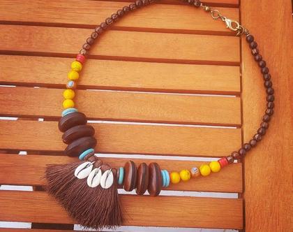 שרשרת חרוזים ססגונית, שרשרת בוהו, שרשרת קצרה,שרשרת צבעונית,שרשרת מיוחדת