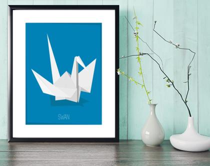 ברבור אוריגמי | תמונה מעוצבת |תמונה ממוסגרת