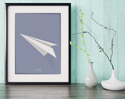 מטוס אוריגמי | תמונה מעוצבת | תמונה ממוסגרת