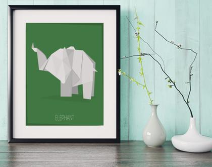 פיל אוריגמי | תמונה מעוצבת | תמונה ממוסגרת