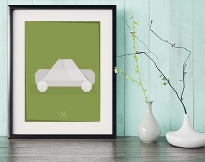 מכונית אוריגמי | תמונה מעוצבת | תמונה ממוסגרת