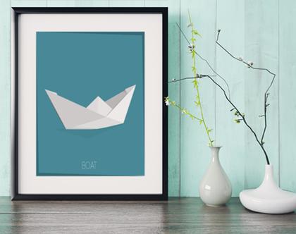 סירה אוריגמי | תמונה מעוצבת | תמונה ממוסגרת