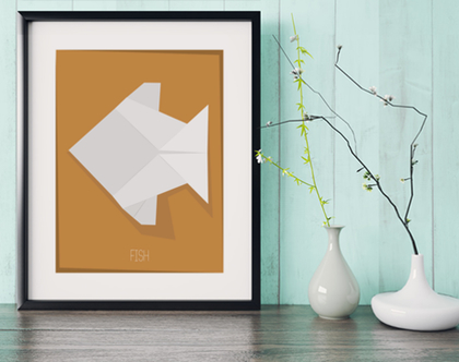 דג אוריגמי | תמונה מעוצבת | תמונה ממוסגרת