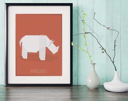 קרנף אוריגמי | תמונה מעוצבת | תמונה ממוסגרת