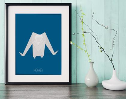 קוף אוריגמי | תמונה מעוצבת | תמונה מממוסגרת