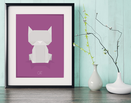 חתול אוריגמי | תמונה מעוצבת | תמונה ממוסגרת