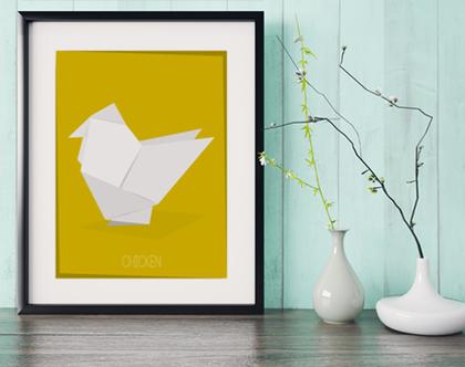 תרנגול אוריגמי | תמונה מעוצבת |תמונה ממוסגרת