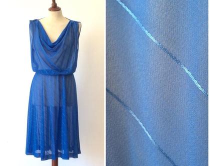 שמלת וינטג' | שמלה כחולה | שמלת שיפון | שמלה לנשים | שמלה מיוחדת | שמלה קלילה