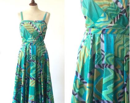 שמלת וינטג' | שמלה כחולה | שמלת כותנה | שמלה נשית | שמלה לקיץ | שמלה לנשים