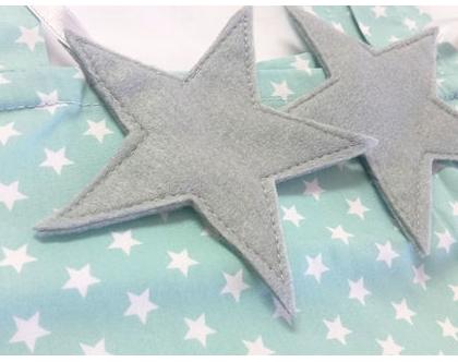 וילון לילדים - וילון מעוצב אקווה כוכבים עם כוכבים/לבבות תלויים
