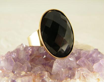 טבעת אוניקס | טבעת אבן חן שחורה | טבעת ציפוי זהב | טבעת גדולה | אבן שחורה | תכשיטי אוניקס | טבעת לאישה