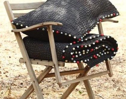 סט שמיכה וכרית למיטת יחיד KANTHA BLACK