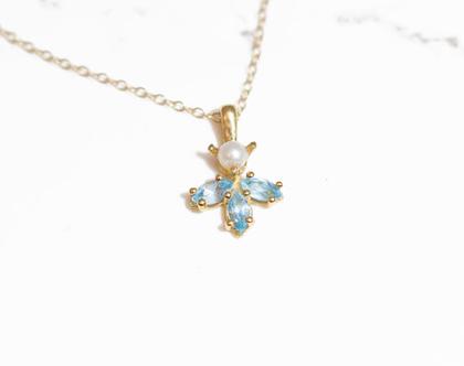 שרשרת אבני חן , שרשרת פנינה, שרשרת טופז כחול, בלו טופז, שרשרת זהב, תליון זהב