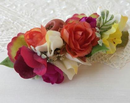 סיכה מעוצבת לשיער | סיכה מפרחי משי צבעונית | סיכה לכלה | סיכה מפרחים מלאכותיים | סיכה בעבודת יד | סיכה צבעונית לשיער