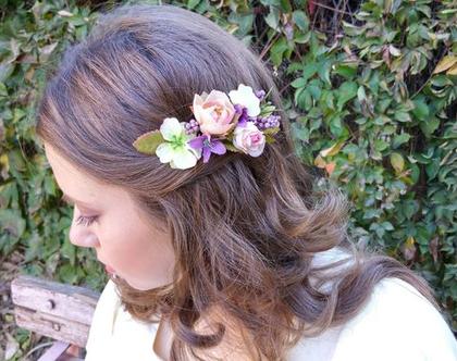 סיכה לשיער | סיכה מפרחי משי | סיכה לכלות | סיכת פרחים לכלות | סיכה צבעונית לשיער | סיכה מעוצבת לשיער | סיכה בעבודת יד | סיכה מפרחי בד
