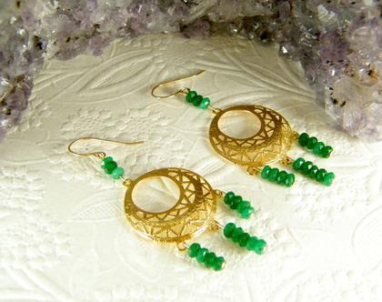 עגילי שנדליר   עגילי זהב תלויים   עגילי אבני אגת   עגילי אבנים ירוקות   עגילים אותנטיים