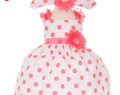 שמלות לתינוקות עם כובע מנוקדות בצבעים