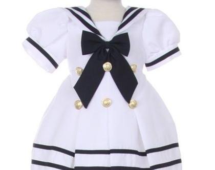 שמלת מלחים לילדות עם כובע
