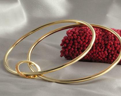 סט 2 צמידים זהב | צמיד רקוע עדין | צמיד מיוחד זהב 21k | צמיד זהב חישוקים ודיסקית | צמיד זהב | צמיד זהב מרוקאי | 21 קראט | צמיד עדין |