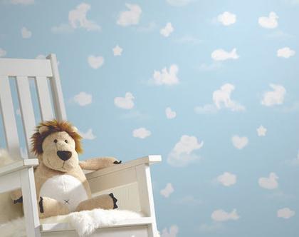 טפטים לחדרי תינוקות | טפט לחדר ילדים | טפט לחדר ילדים | טפט לבבות | טפט עננים|