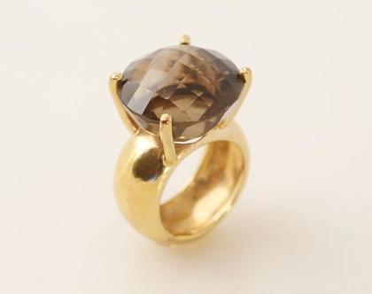טבעת משובצת אבן סמוקי בציפוי זהב,טבעת אירוסין, טבעת קוורץ סמוקי, תכשיטי כלה, טבעות ייחודיות, טבעת עבודת יד, מתנה לאישה