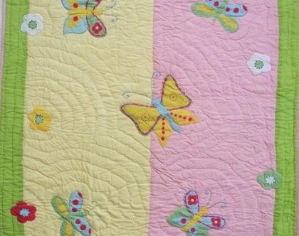 שמיכה לילדות IZABELLE, שמיכה לתינוקת, שמיכת טלאים עבודת יד