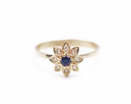 טבעת זהב ויהלומים, טבעת זהב עדינה, טבעת זהב מיוחדת, טבעת אירוסין מיוחדת, טבעת ספירים