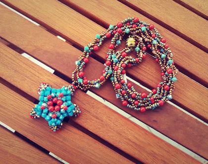 שרשרת חרוזים מיוחדת, אדום וטורקיז, שרשרת עבודת יד,שרשרת קצרה