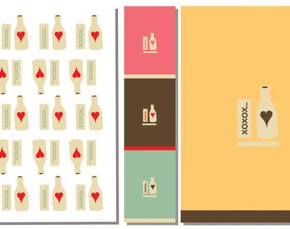 4 ניירות אריזה עם מדבקות לסגירה   נייר עטיפה למתנה לכלה במסיבת רווקות   Bottle XOXO Style