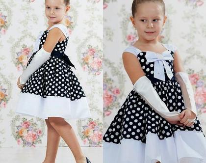 שמלה מנוקדת אלגנטית עם כפפות